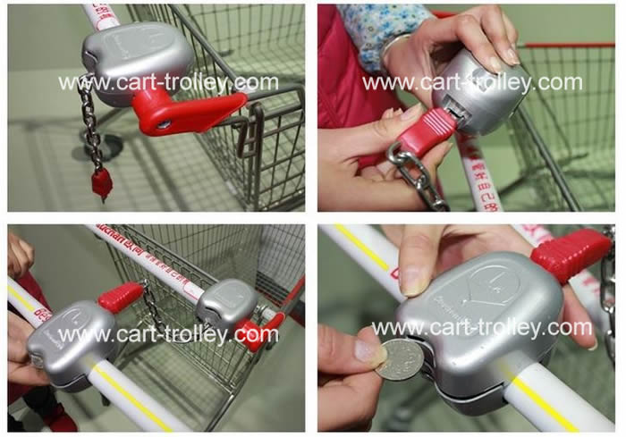 supermarket shopping trolley coin lock with chain
